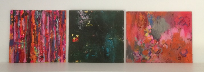 """Red Stripes"", ""Light in the dark"" and ""Tender grey"" all 20x20 or 20x30 cm Acrylic on wood"