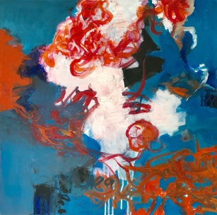 Dancing: orange and Blue 1. 50x50 cm
