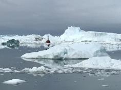 near Jacobson fjord, massive icebergs