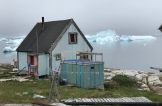 We were very exited to see the icebergs swimming in front of a settlement