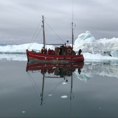 one of the fisherboat in the ice landscape