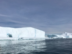 beautiful icebergs with frozen water columns