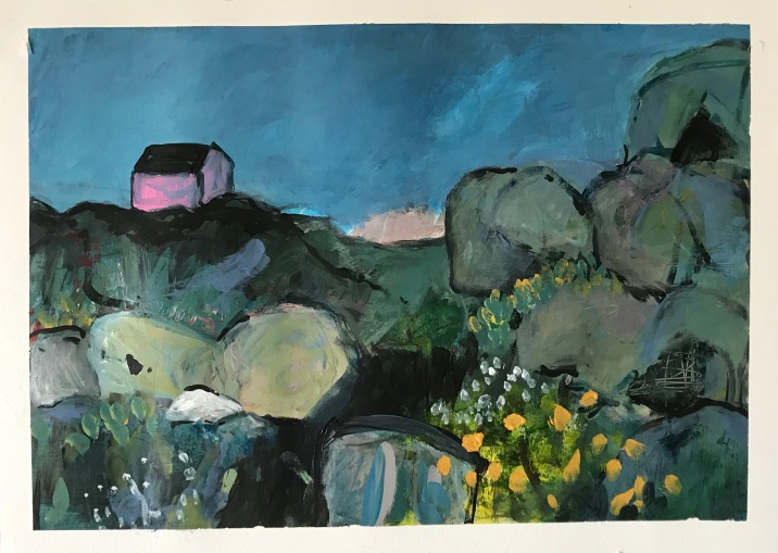 3 . Pink house on rocks, Acrylic on paper