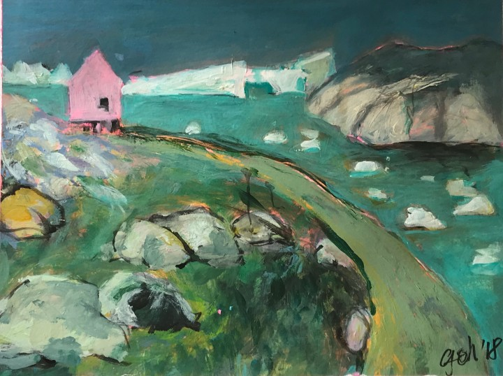 Pink house at the fjord