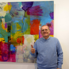 Rafael F. Pacheco in front of my painting