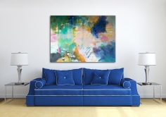 Spring explosion over blue sofa