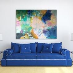 Spring explosion over blue sofa