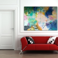 Spring explosion over red sofa