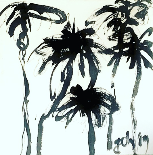 Palms 20x20 on wood